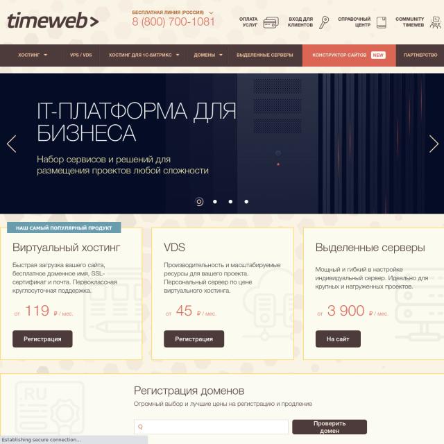 Скриншот TimeWeb
