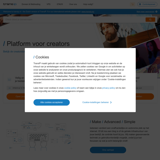 Скриншот TransIP.nl